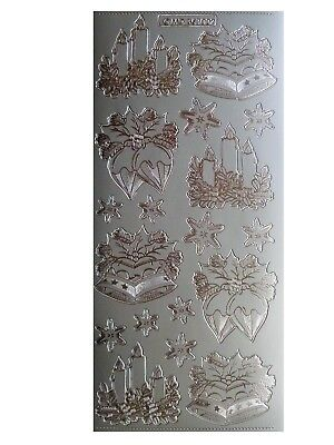 SILVER EMBOSSED CANDLES BELLS & BAUBLES Peel Off Stickers Christmas Card Making