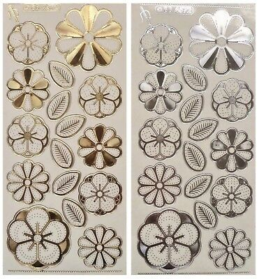 Embossed Embroidery FLOWERS & LEAVES Peel Off Stickers Garden Leaf Gold, Silver