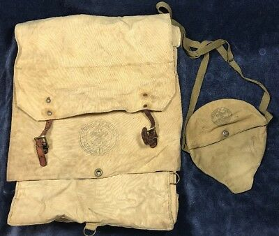 Vintage Boy Scouts Of America BSA NAT. COUNCIL Canvas Backpack & Canteen Bag