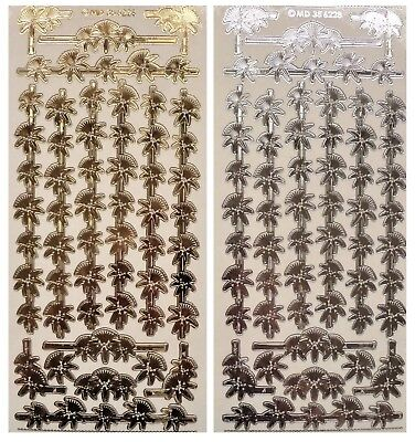 Embossed BAMBOO FLOWER BORDERS Peel Off Stickers China Japan Gold or Silver