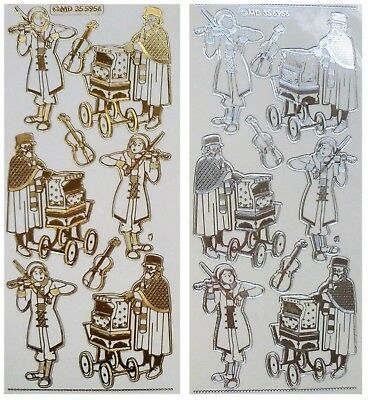 Embossed CHRISTMAS OLD FASHIONED MUSICIANS Peel Off Stickers Gold or Silver