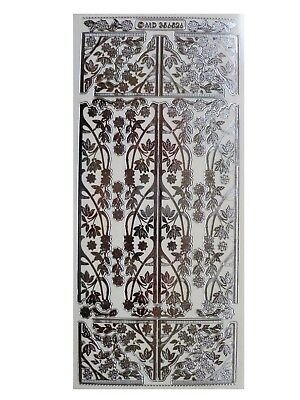 SILVER EMBOSSED BLOSSOM CORNERS & PANELS Peel Off Stickers Flowers Card Making