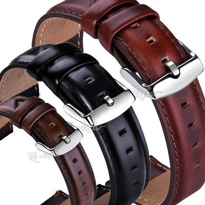 14 17 18 19 20 22mm Ss Buckle Leather Watch Strap Quick Release Wrist Watch Band