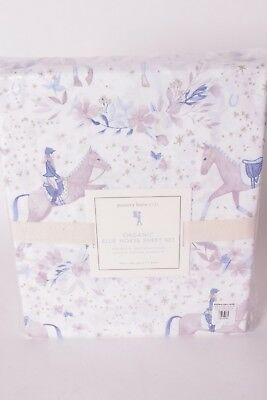 NWT Pottery Barn Kids Organic Ellie Horse twin sheet set lavender purple