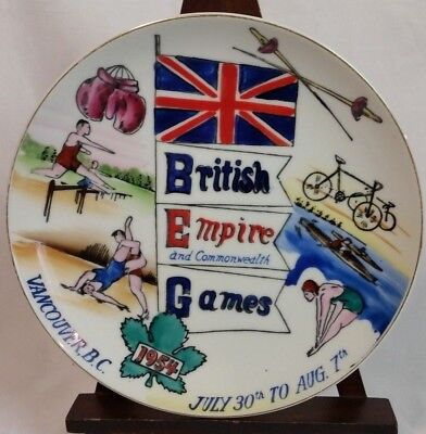 British Empire Commonwealth Games 1954 Vancouver collector plate rare vtg Japan