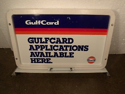 "GULF GULFCARD Credit Card GAS PUMP Top SERVICE Station Metal 20 1/2"" X 13"" SIGN"