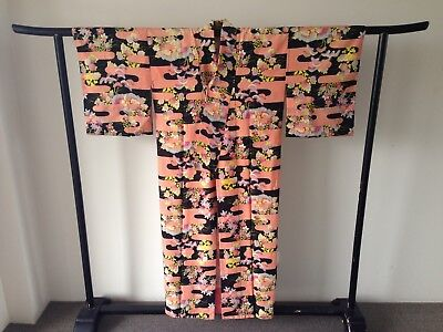 Vintage Japanese Decorative Kimono One of a Kind Hand Made Authentic Old Kyoto