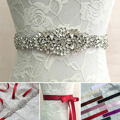 Jeweled Bridal Sash Wedding Dress Party Prom Belt Crystal Rhinestone Applique