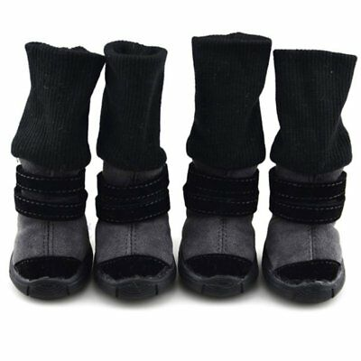 4pcs Small Pet Dog Winter Anti-Slip Shoes Puppy Snow Boots Warm Cotton Booties