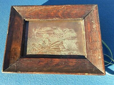 A Antique Hand Engraved Cooper Plate Of 2 Girls Oak Frame