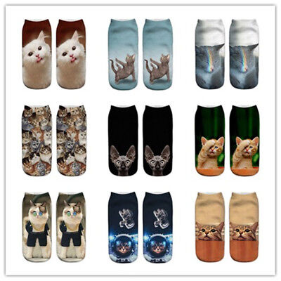 1 Pair Men Women fashion Low Cut Ankle Socks Cotton cute Cat Print Animals Socks