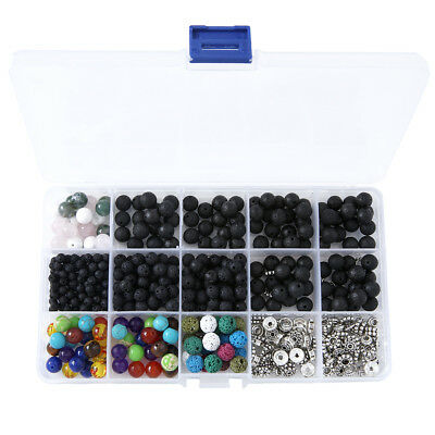 500pcs Assorted DIY Chakra Lava Stone Beads Alloy Spacers Kit For Jewelry Making
