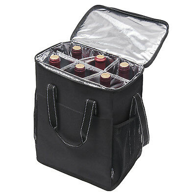 Kato Insulated Portable 6 Bottle Wine Carrier Cooler Tote Bag Detachable Divider