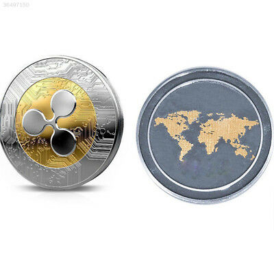 0837 Golden Silver Ripple Commemorative Round Collectors Coin XRP Coin UK