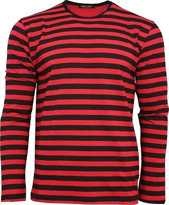 Run & Fly Black and Red Striped Long Sleeved Stripey T-Shirt 60s 70s Retro Indie