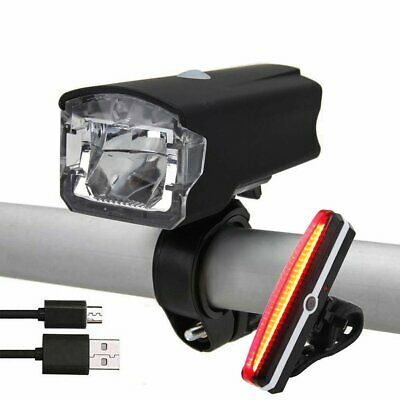 USB Rechargeable MTB Road LED Bike Cycle Headlamp Front Rear Tail Back Lights AU