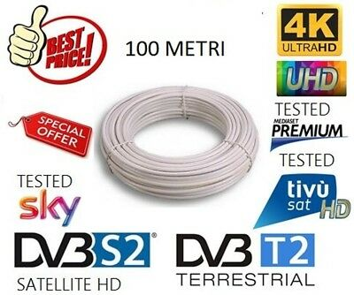 CAVO ANTENNA TV SATELLITARE TERRESTRE OTTIMO PER SKY MATASSA 100mt 5MM