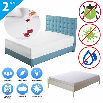 1-2Pack Mattress Encasement Zippered Bed Bug Hypoallergenic Cover Protector LOT