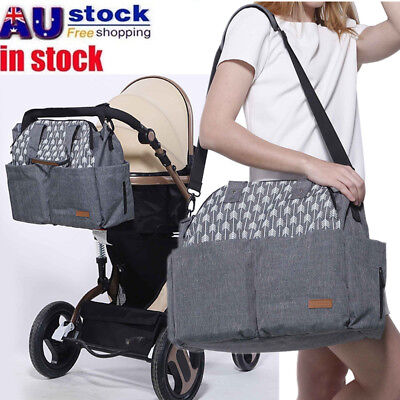 AU Waterproof Large Mummy Nappy Diaper Bag Baby Travel Changing Nursing Handbag