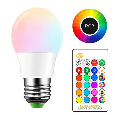 5W 10W 15W E27 LED RGB Dimmable Light Bulb 16 Color Changing Lamp Remote Control