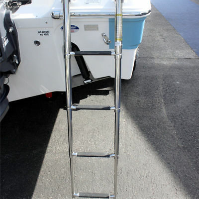 Stainless Steel 4 Step Ladder Telescoping Folding Drop Swim Ladder Marine Boat