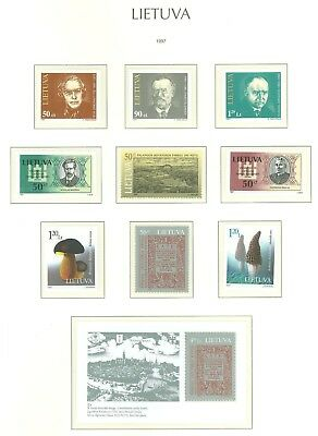 Lithuania F93 MNH 1997 9v+s/s Historical Persons Mushrooms