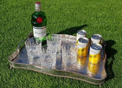 """18"""" vintage large silver plated drinks chased gallery serving tray cocktail"""