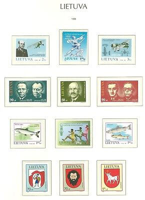 Lithuania F96 MNH 1998 12v Sport Olympics Aviation Plane Fishes Coat of Arms