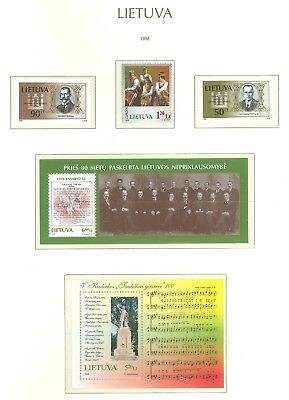 Lithuania F97 MNH 1998 3v+2s/s National Costumes Historic People Music