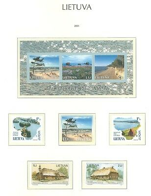 Lithuania G07 MNH 2001 5v+s/s Landscape Europa Wooden Architecture