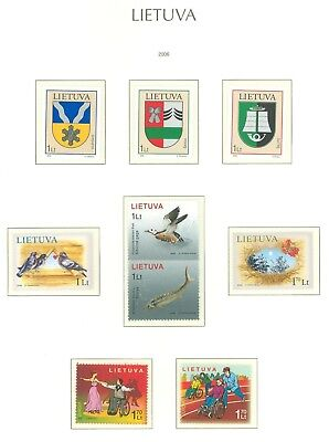 Lithuania G26 MNH 2006 9v Coat of Arms Birds Fishes Europa Disabled Christmas