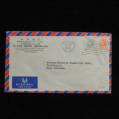ZS-AC276 HONG KONG - Airmail, 1955 From Kowloon To Nunberg Germany Cover