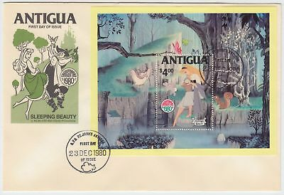 ZS-AD608 ANTIGUA IND - Walt Disney, Christmas, Sleeping Beauty Sheet FDC Cover