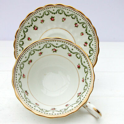 Antique George Jones & Sons Crescent China Rosebud Tea Cup Saucer Duo c1893-1910