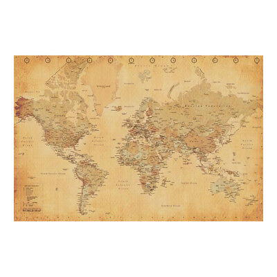 Classic World Map Poster. Vintage Retro Style Explorer Cartography Wall Decor