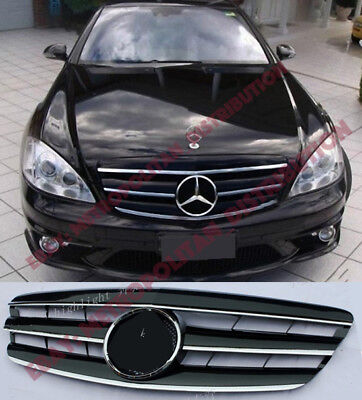 Mercedes S class w221 grille,2005-09,AMG S65,S63 look:Central Star,Gloss Black