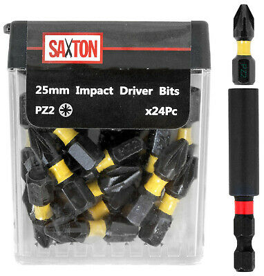 Saxton 24x PZ2-25mm Pozi-drive 2 Impact Duty Screwdriver Drill Bits Set + Holder