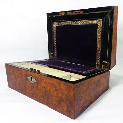Early 19Th C English Regency Fancy Burled Walnut, Inlaid Traveling Writing Box