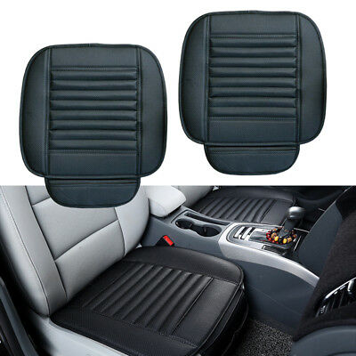 2PCS Covers Breathable Car Seat Pad Front Leather Cushion Chair Mat Protection