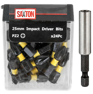 Saxton 48x PZ2-25mm Pozi-drive 2 Impact Duty Screwdriver Drill Bits Set + Holder