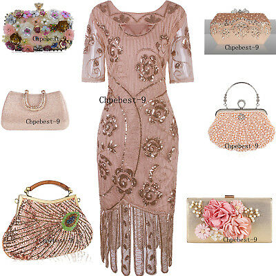 Rose Gold Dress 1920s Costumes Great Gatsby Dresses Evening Gown Party Christmas