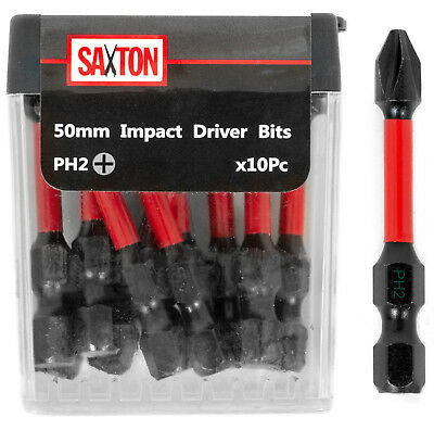 Saxton 10x PH2-50mm Impact Duty Screwdriver Drill Bits Set Dewalt Milwaukee etc