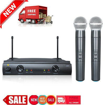 Pro VHF Wireless 2 Channel Dual Microphone Mic System Party KTV Set Black MA
