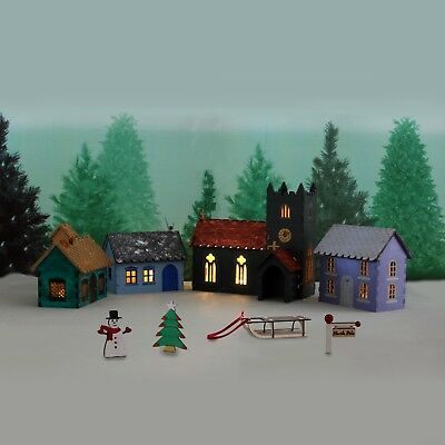 Wooden Complete Christmas Village Scene Kit - flat packed self assembly
