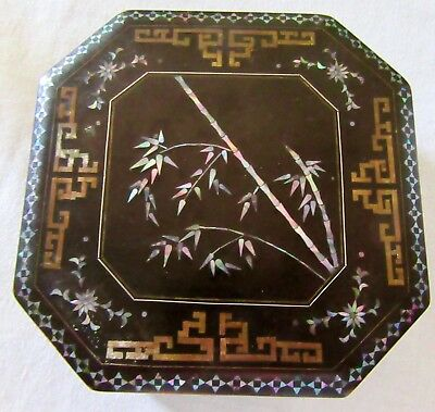 """Intricate Antique Vintage Mother Of Pearl Inlaid Mosaic Lacquerware Box   6"""""""