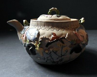 Japanese Banko Ware Teapot With Sparrows & Flowers - Early 20Th Century