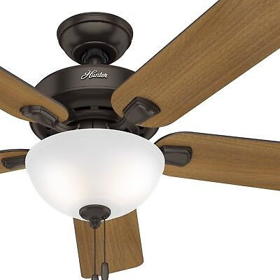 Hunter 52 traditional new bronze finish ceiling fan with 4 bulb hunter fan 52 inch traditional premier bronze ceiling fan with light kit aloadofball Images