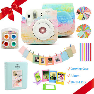 For Fujifilm Instax Mini 8 9 Film Camera Case Bag Cover + Album + 10-IN-1 Kits