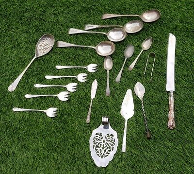 Job lot collection silver plate cutlery spoons fork sugar nips tongs cake server