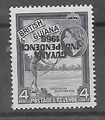 British Guiana 1967/68 Independence 4c inverted overprint very fine unhinged